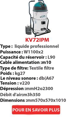 Aspirateur à eau professionnel avec pompe à l'intérieur - KV72IPM